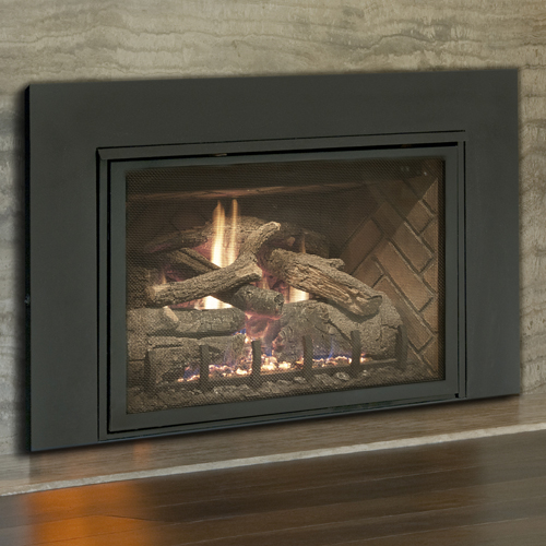 "25"" Direct Vent Insert, Burnt American Oak, Liner, Blower And Surround (Electronic Ignition) - Real Fyre"